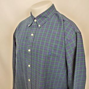 Ralph Lauren Mens Shirt Sz 2XL Blue Button Down